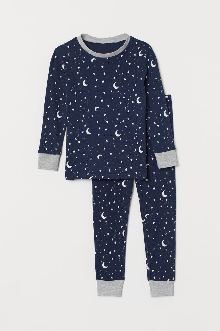 Jersey pyjamas - Dark blue/Stars - Kids | H&M GB