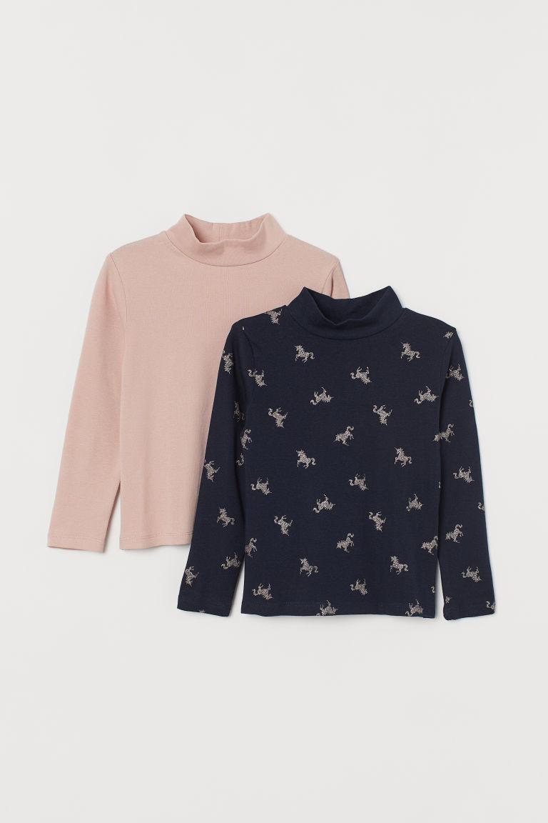 2-pack polo-neck tops - Dark blue/Unicorns - Kids   H&M GB
