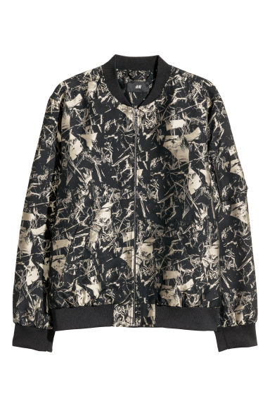 Jacquard-weave bomber jacket - Black/Patterned -  | H&M GB