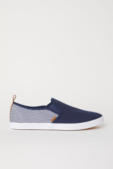 Slip-on trainers - Dark blue/Striped -  | H&M