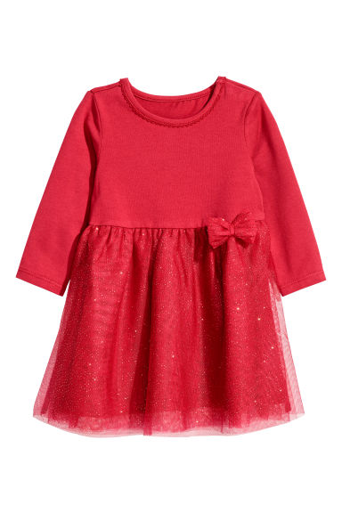 Dress with a tulle skirt - Red/Glitter - Kids | H&M CN