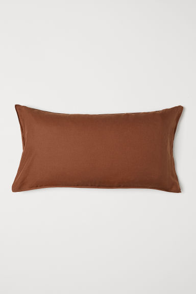 Washed linen pillowcase - Light brown - Home All | H&M CN