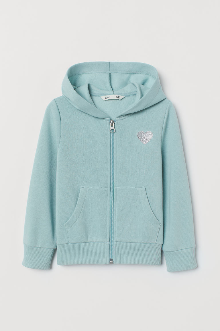 Hooded jacket - Turquoise/Heart - Kids | H&M GB