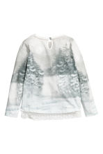 Lace-trimmed jersey top - Natural white/Rabbits -  | H&M CN 3