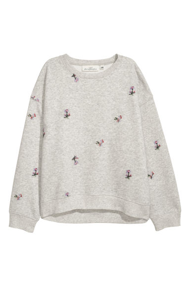 Embroidered sweatshirt - Grey marl/Embroidery -  | H&M