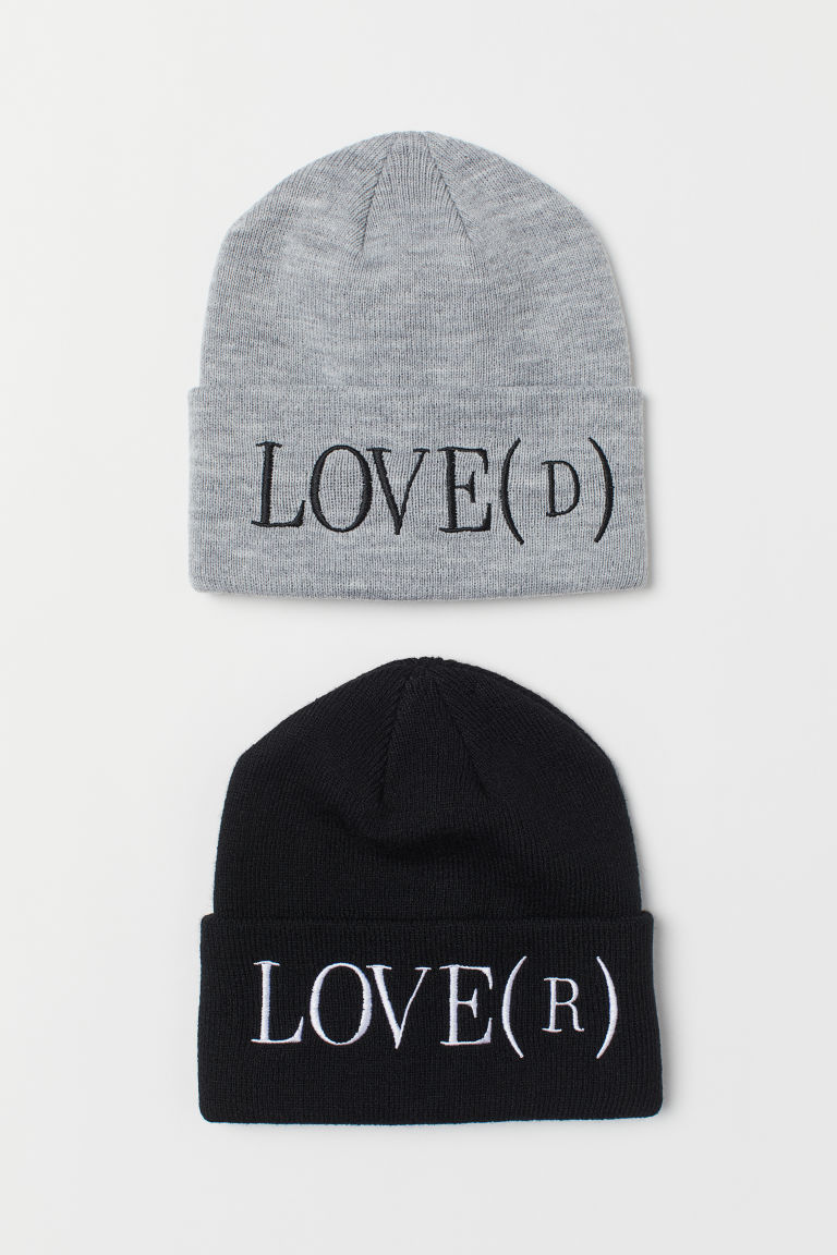 2-pack knitted hats - Black/Grey - | H&M GB