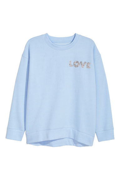 H&M+ Sweat-shirt - Bleu clair/Love - FEMME | H&M BE