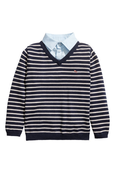 Jumper with a shirt collar - Dark blue/White striped - Kids | H&M GB