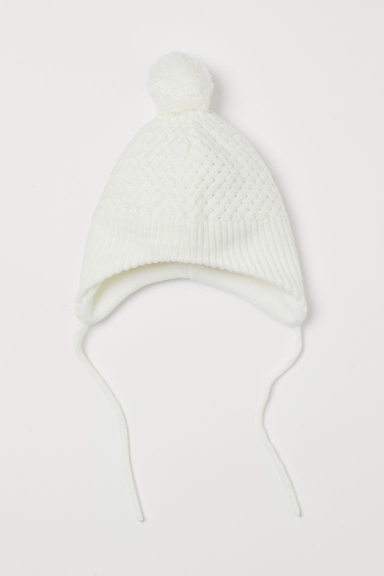 Fleece-lined hat - White - Kids   H&M GB