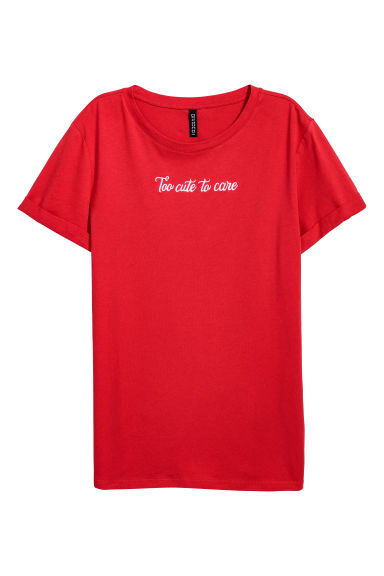 T-shirt with a motif - Red/Too Cute - Ladies | H&M GB