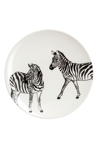 Piatto in porcellana stampato - Bianco/zebre - HOME | H&M IT