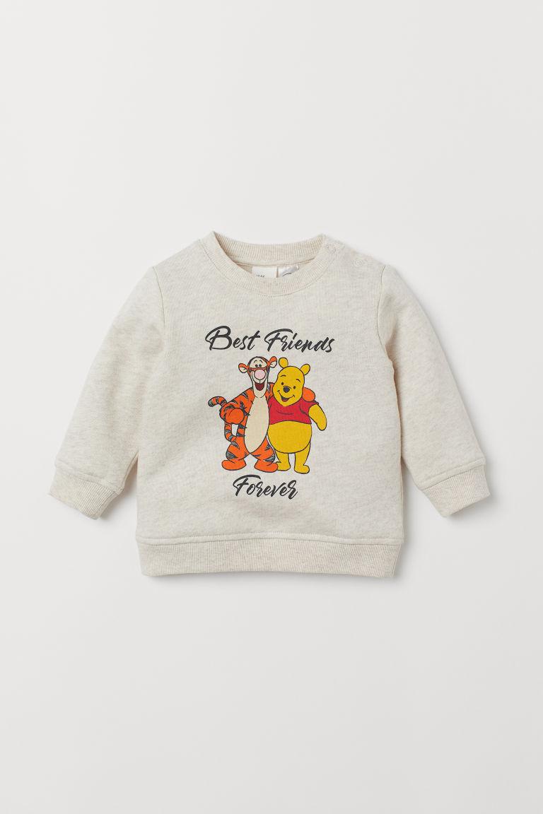 Printed sweatshirt - Lt. beige marl/Winnie the Pooh - Kids | H&M GB