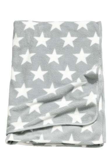 Fleece blanket - Light grey/Stars - Home All | H&M CN