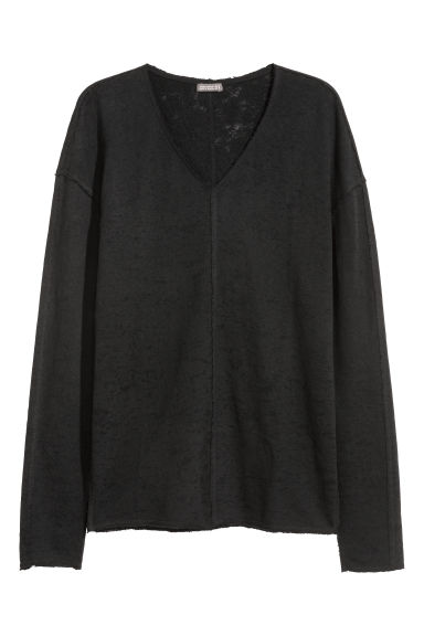 Burnout-patterned top - Dark grey -  | H&M