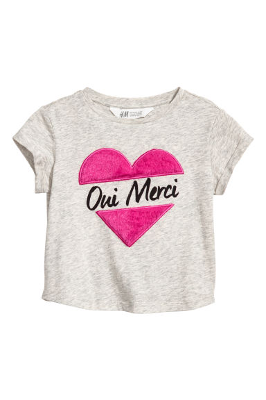 Top with a motif - Grey marl/Heart - Kids | H&M CN