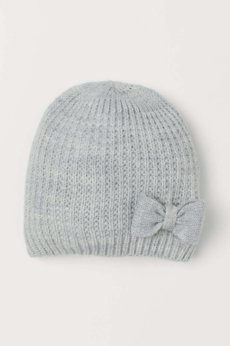 Knitted hat with a bow - Light grey - Kids | H&M GB
