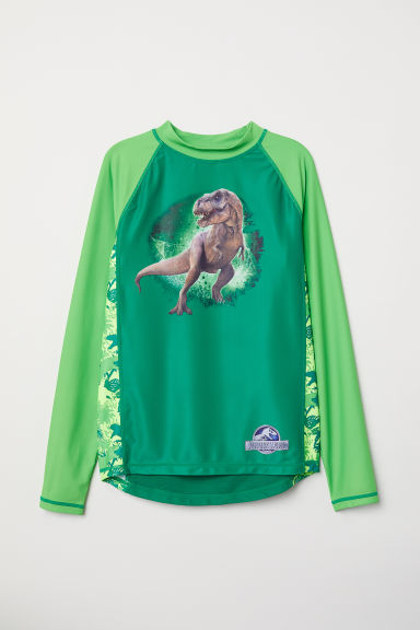 Swim top with UPF 50 - Green/Jurassic World - Kids | H&M CN