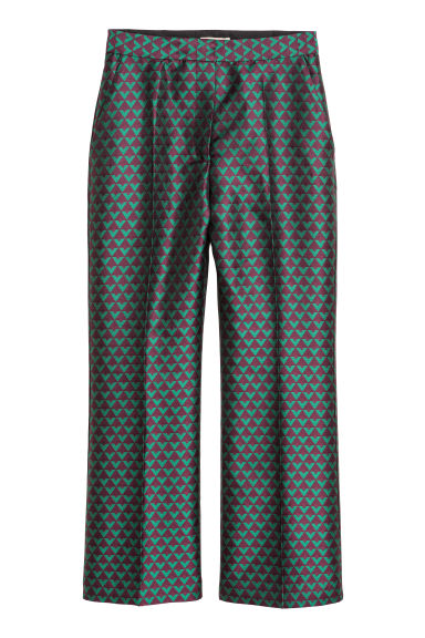 Jacquard-weave trousers - Dark purple/Green -  | H&M