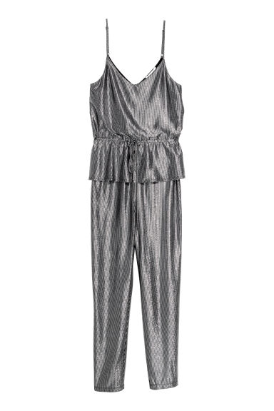 Jumpsuit with a flounce - Grey/Metallic -  | H&M