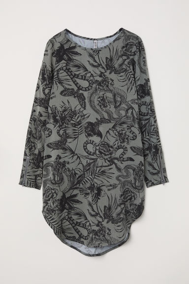 Short viscose dress - Dark khaki green/Patterned - Ladies | H&M