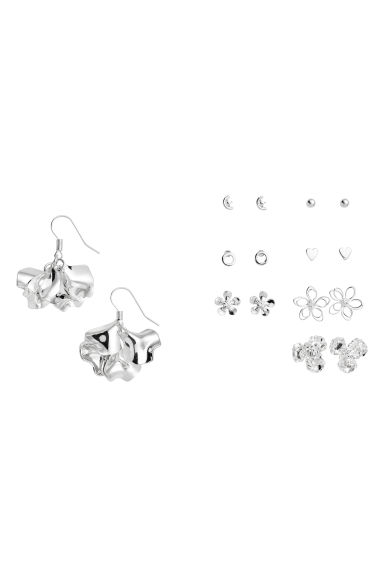 8 pairs earrings - Silver-coloured - Ladies | H&M