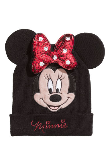 Knitted hat - Black/Minnie Mouse - Kids | H&M