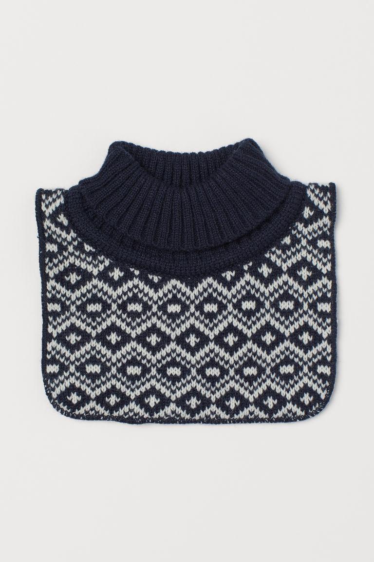 Knitted polo-neck collar - Dark blue/White - Kids   H&M GB