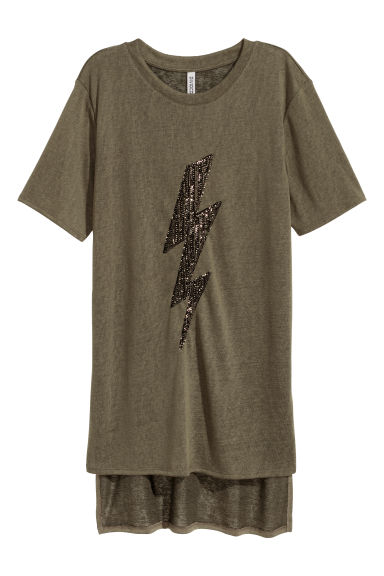 T-shirt with a motif - Dark khaki green/Lightning - Ladies | H&M