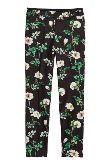 Cigarette trousers - Black/Floral -  | H&M