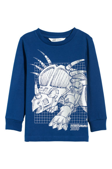 Jersey top with a print motif - Blue/Dinosaur - Kids | H&M GB