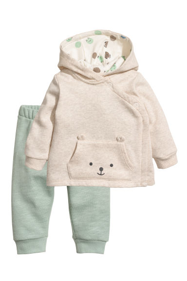 Hooded jacket and joggers - Beige/Dusky green - Kids | H&M