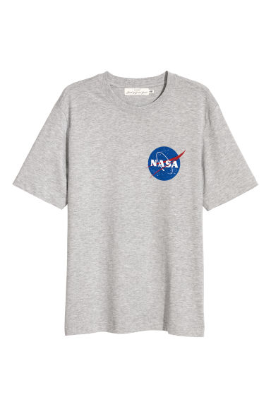印花T恤 - 混灰色/NASA - Men | H&M CN
