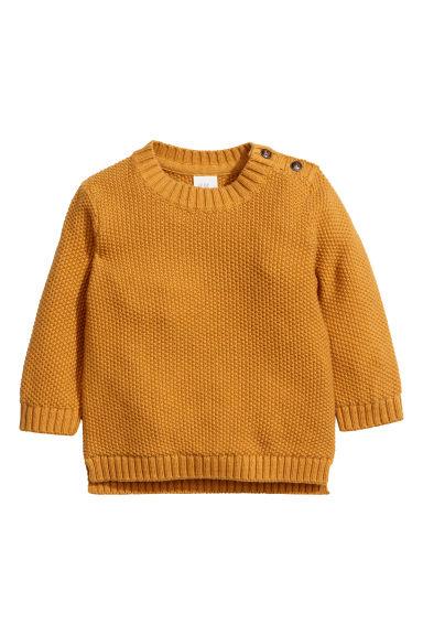 Textured-knit Sweater - Mustard yellow - Kids | H&M CA