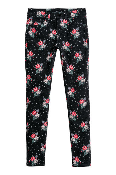 Patterned twill trousers - Black/Floral -  | H&M
