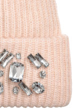 Ribbed hat - Powder pink/Sparkly stones - Ladies | H&M 2