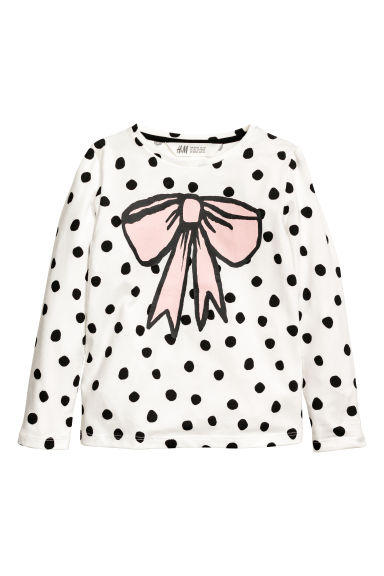 Printed jersey top - White/Bow -  | H&M