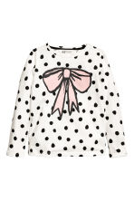 Printed jersey top - White/Bow - Kids | H&M CN 2