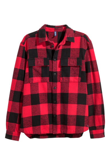 Checked flannel shirt - Red/Black checked -  | H&M GB