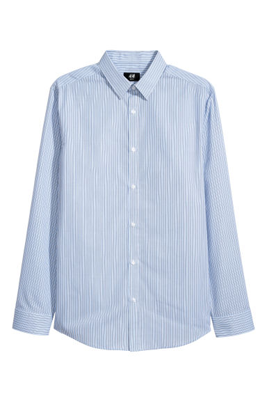 Easy-iron shirt Slim fit - Light blue/Striped - Men | H&M CN