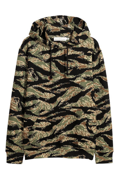 Hooded top with a motif - Black/Patterned - Men | H&M IE