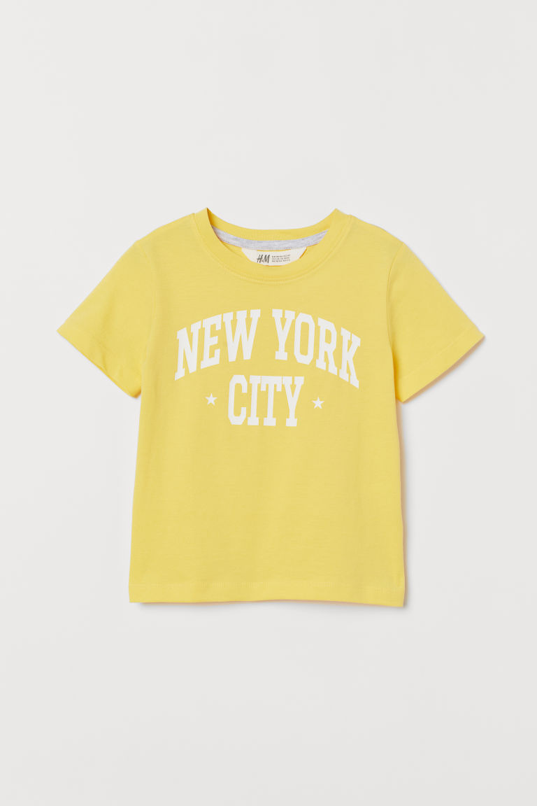 Printed T-shirt - Yellow/New York - Kids | H&M GB