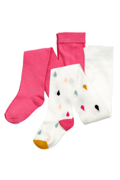 Collants, lot de 2 - Cerise/gouttes - ENFANT | H&M BE