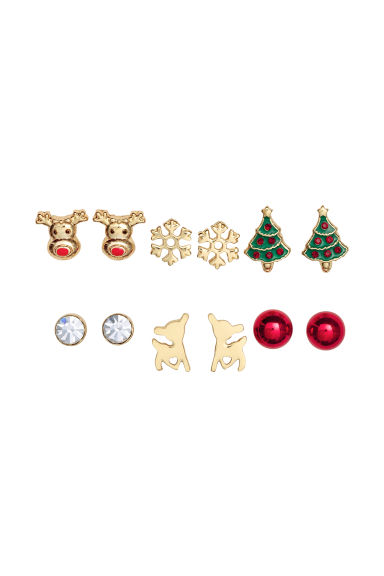 6 pairs stud earrings - Gold-coloured/Christmas -  | H&M