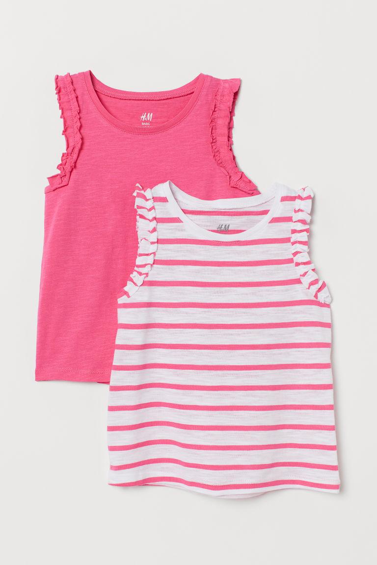 2-pack frilled vest tops - Raspberry pink/Striped - Kids | H&M GB