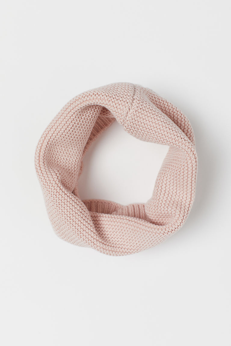 Garter-stitched tube scarf - Light pink - Kids | H&M GB