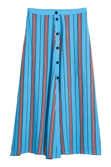 Calf-length skirt - Light blue/Striped - Ladies | H&M