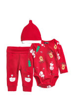 Set 3 pezzi in jersey - Rosso/pupazzo di neve - BAMBINO | H&M IT 1