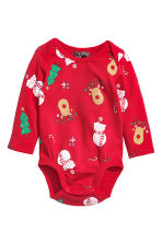 Set 3 pezzi in jersey - Rosso/pupazzo di neve - BAMBINO | H&M IT 2