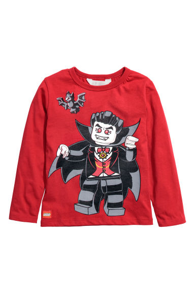 Tricot shirt met print - Rood/Lego -  | H&M NL