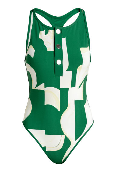 Patterned swimsuit - Green/White patterned - Ladies | H&M